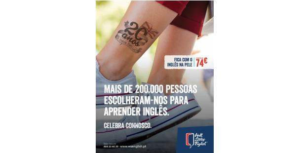 Wall Street English faz tatuagens pelos 20 anos