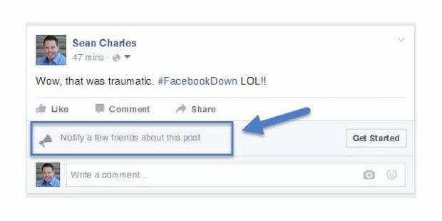 Facebook cria ferramenta para quem quer notificar amigos