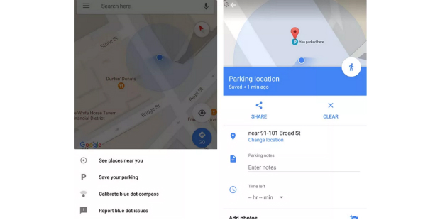 Google Maps testa lembretes de estacionamento